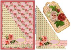Shabby Chic Roses with Bookmark Tag on Craftsuprint - Add To Basket!