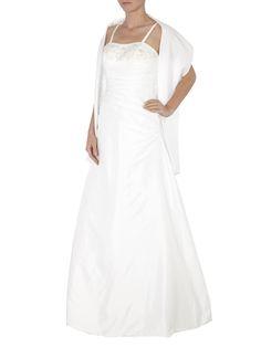 Satin Brautkleid mit Zierbesatz