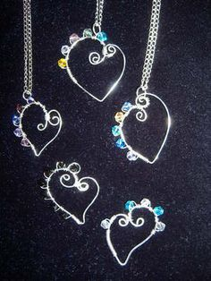 Swarovski Wire Wrap Heart Necklace