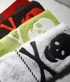 Skull hand towels. I love them all, but especially black towel with red, white or pink skull!