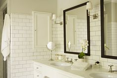 I like this pale grey grout color. Transitional Bathroom by Tim Barber LTD Architecture & Interior Design