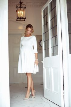 Sienna Maternity Dress Short Cream - Maternity Wedding Dresses, Evening Wear and Party Clothes by Tiffany Rose - Web 2020 Best Site White Maternity Dresses, Winter Maternity Outfits, Maternity Dresses For Baby Shower, Pregnancy Outfits, Mom Outfits, Maternity Wear, Maternity Fashion, Pregnancy Tips, Maternity Occasion Wear
