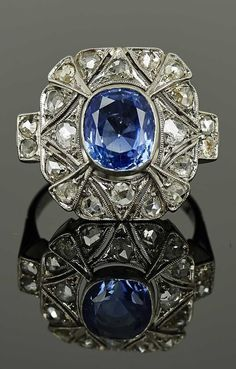 A rare Art Deco sapphire and diamond ring, French, circa 1930. Set to the centre with a cushion-cut natural Ceylon sapphire, weighing 3.80 carats, surrounded by rose-cut diamonds, mounted in platinum. #ArtDeco #ring