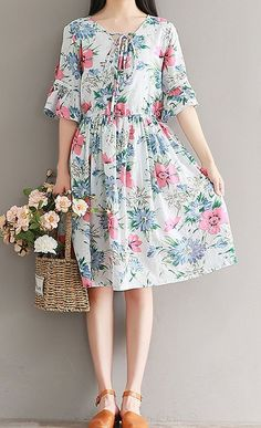 Women loose fitting over plus size retro flower midi tunic fashion pregnant chic #Unbranded #dress #Casual