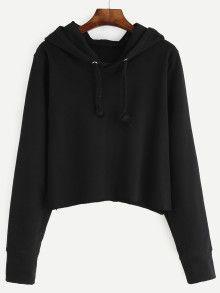 Black Crop Hooded Sweatshirt