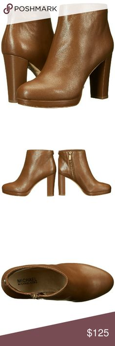 New! MICHAEL KORS Sammy Platform Ankle Booties NWB The stylish Sammy Platform Bootie from MICHAEL Michael Kors will complement your style with its smooth leather upper and wrapped heel.  * Brand New With Box  * Color: Caramel  * Almond toe  * Approx. 1/2 inch platform height  * Approx. 3 inch heel height  * Leather lining. * Leather upper  * Medial-zipper entry. * Synthetic outsole  * Cushioned footbed. * Wrapped heel   * Retails for $198 Michael Kors Shoes Ankle Boots & Booties
