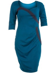 Manon Baptiste Cotton dress wirth heart-shaped neckline in Petrol / Dark-Blue