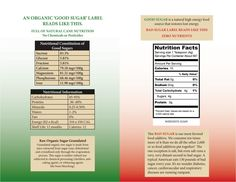 See the difference between a natural, organic sugar label and an unhealthy sugar label Bad Sugar, High Energy Foods, Organic Sugar, Label, Nutrition, Natural, Nature, Au Natural