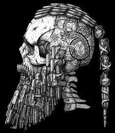 Skull with beard from various guns.Commision for a client. Pen & Ink. -------------------------------------------- Copyright© Darius 2017 You are not allowed to use this artwor...