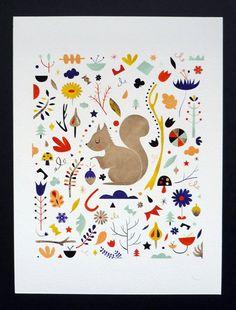 Little Squirrel. 18x24 cm print by Sarah Andreacchio. $16.00, via Etsy.
