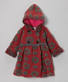 Take a look at this Crimson Simple Flower Mary-Jayne Bubble Coat - Toddler & Girls by Corky & Company on #zulily today!