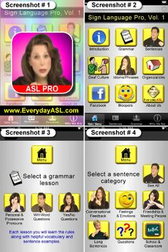 Sign Language Pro ($1.99) Upgrade and learn to sign like a PRO with THOUSANDS of words formed into hundreds of sentences using common phrases & idioms along with 3 teachers and about correct grammar, sentence structures, Deaf Culture and organizations! ALL OUR APPS HAVE GOTTEN OVER 1 MILLION DOWNLOADS, we thank you for supporting our Sign Language program run entirely by a team of Deaf teachers.