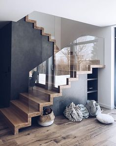 Unique staircase Modern Staircase unique staircase The Effective Pictures We Offer You About Stairs office A quality picture can tell you many things. Building Stairs, Stairs Architecture, House Stairs, Hallway Decorating, Modern House Design, Staircase Design Modern, Stair Design, Home Stairs Design, Home Interior Design