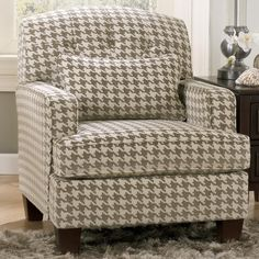 Signature Design by Ashley Donella Contemporary Houndstooth Accent Chair with Track Arms - AHFA - Upholstered Chair Dealer Locator