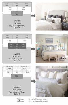 HOME BED - Tipos y tamaños de cojines y almohadas Diferentes estilos y clasificar a las necesidades del tamaño de la cama y el diseño de la habitación. #DesignerBedSheets