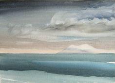 White Island, Inside Passage, BC - Toni Onley Watercolor Landscape, Landscape Paintings, Watercolor Art, Landscapes, Canadian Painters, Canadian Artists, Watercolor Techniques, Painting Techniques, India Art