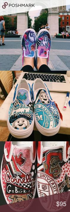 Custom College Slip on Sneakers! Show your college pride with these awesome DIY custom and handmade slip on sneakers! Just let me know what college you want and what size and I'll get to designing and drawing! Delivery can take up to 3  weeks just because of the tedious artwork and design work but let me know if you need them sooner and we can work something out! Happy college shopping!💜 Shoes Sneakers