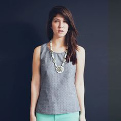 Checkered Chambray Tailored Tank - Gray | Make It Good | Handmade in Portland, OR
