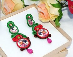 Japanese porcelain bead embroidery soutache earrings medium long gift for her #JapaneseCherries #BeadEmbroidery #japanese #PartyJewelry #soutache #AnniversaryJewelry #SoutacheEarrigs #geisha #BeadEmbroidered