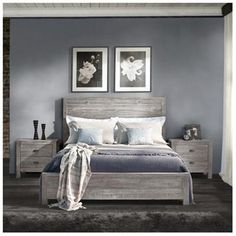 Montauk Panel Bed, Full, Rustic Grey