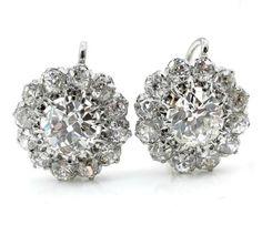 Victorian 5.13ctw Antique Old European Diamond Cluster Drop Platinum 18k Gold Earrings