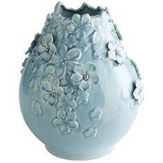 Blossoms Aqua Ceramic Vase Turquoise