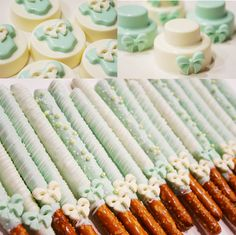 Chocolate dipped pretzels & Chocolate covered Oreo for a boy baby shower!