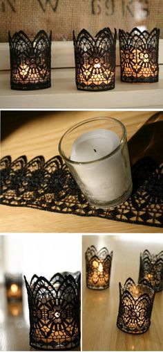 I might need some of this stuff for my house! haha DIY Black Lace Candles for Halloween. These stunning handmade pieces can be arranged on tables around the centrepiece to add a touch of vintage elegance to the Halloween décor. Fete Halloween, Holidays Halloween, Halloween Crafts, Halloween 2016, Easy Halloween, Diy Candle Holders, Diy Candles, Lace Candles, Ideas Candles