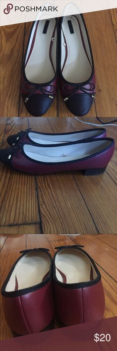 Ballet Flats Red wine and black ballet faux leather flats with a black string bow Forever 21 Shoes Flats & Loafers