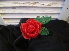 Vintage Beautifully Beaded Red Rose by casellascreations on Etsy