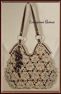 "Сумочка ""54 розочки""(Продано) - авторская сумка,сумка вязаная,хлопок,лен 8000р."