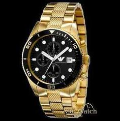 Emporio Armani Herren Uhr AR5857 Chronograph PVD Gold NEU OVP