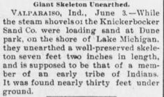 Giant Human Skeletons: Ancient Giant Human Skeleton Discovered at Dunes State Park in Indiana