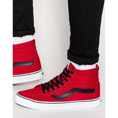 Vans Sk8-Hi Reissue Sneakers In Red V3CAATM ($80) ❤ liked on Polyvore featuring men's fashion, men's shoes, men's sneakers, red, mens lace up shoes, mens high top shoes, mens red sneakers, mens red high top sneakers and mens red shoes