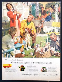 "1955 Beer Industry Vintage Print Ad Art - #107 in Series Home Life in America - ""Love at First Sight"" by Haddon Sundblom"