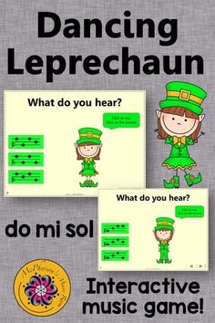 Working on aurally identifying do/mi/sol melodies with your elementary music students? Get ready for a built in brain break as your students giggle and dance along with the leprechaun. Perfect for March, St. Patrick's Day or anytime and works with or without a Smartboard!