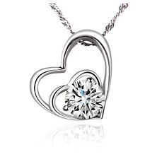 Unique Jewelry - Fashion Women Heart 925 Sterling Silver Plated Pendant Necklace Chain Jewelry