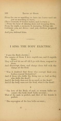 I Sing The Body Electric. Walt Whitman.