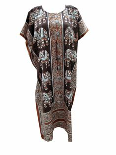 Designer Cotton Kaftans Boho Gypsy Elephant Print Evening Dress