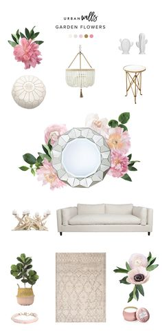 ​Soft Pink Garden Flowers Decal Style Board - Urbanwalls Bachelorette Pad, Pink Garden, Victorian Decor, Furnitures, Collages, Decor Styles, Wall Decals, Paint Colors, Chloe