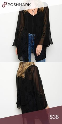 """New sheer black kimono . Brand new from my boutique  . Model is wearing the exact product                Any questions? Don't hesitate to ask  ✨ Use the """"buy now"""" or """"add to bundle"""" feature to purchase ✨ Sweaters Cardigans"""