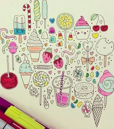 Hand-inked illustrated sweets