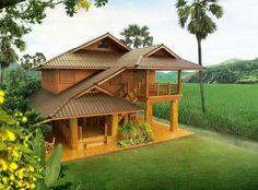 House fachada campo ideas for 2019 Bamboo House Design, Kerala House Design, Bedroom House Plans, Dream House Plans, Bali, Hut House, Asian House, Kerala Houses, Dream Home Design