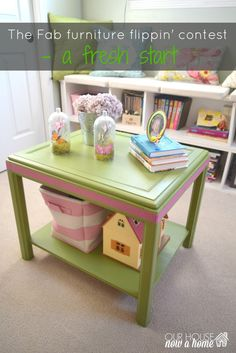 Turning a goodwill found side table into a fun and whimsical play table. Combining bright green and pink to match a sweet girls bedroom. Furniture upcycle, chalk paint, washi tape. To see more visit http://ourhousenowahome.com/ or click on the post