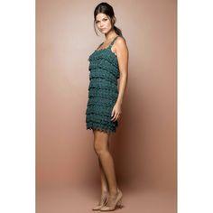 US$ 2,990.00 - Green Boho Crochet Dress - Vanessa Montoro USA - vanessamontorolojausa