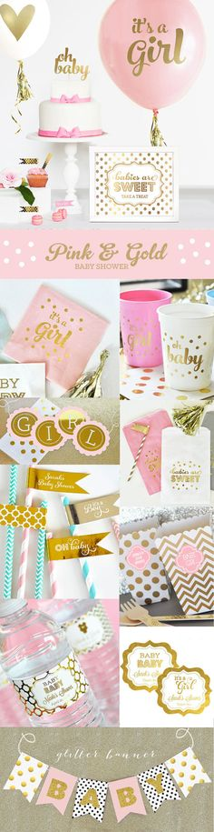 Baby Shower Decorations for a Girl Baby Shower in pink and gold! Its a Girl Baby Shower Balloons are great ideas for a baby announcement or girl baby shower gift too! by Mod Party