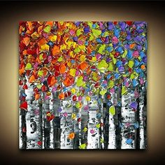 Image result for acrylic impasto birch trees