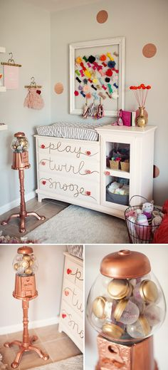 Nursery colors: copper, coral, gold, white. #nursery #baby #decor