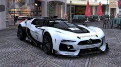 Citroen GT Race Car (Picture was actually taken using Gran Turismo (video game) Photo Travel mode) Bugatti, Maserati, Ferrari, Porsche, Audi, Psa Peugeot Citroen, Citroen Car, Citroen Concept, Concept Cars