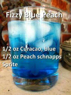 *use of peach schnapps Blue Drinks, Fancy Drinks, Mixed Drinks, Alcholic Drinks, Non Alcoholic Drinks, Liquor Drinks, Cocktail Drinks, Cocktail Recipes, Refreshing Drinks